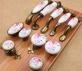 Puxadores de Cerâmica e Alças do vintage Flor China Ferragem da Mobília Punho & Botão