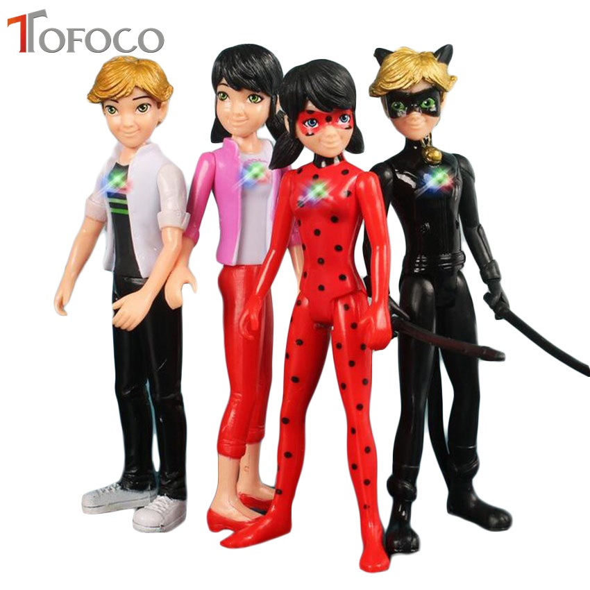 TOFOCO 1Pcs 14cm Light Miraculous Ladybug Dolls Toy Tales Of Cat Noir Model Toy Doll Lady Bug Adrien Marinette Adrien Plast