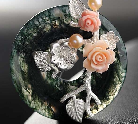 Broche de Pedra Semi-preciosa Natural Pingente de Ágata Com Jóias Flor Frete Grátis