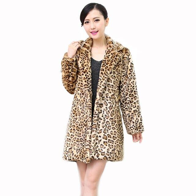 8d086187f14 2017 Winter Europe New Fashion Women Faux Fur Leopard Coat Women Faux Fur  Long Jacket Female Artificial Leopard Fur Coats PC278