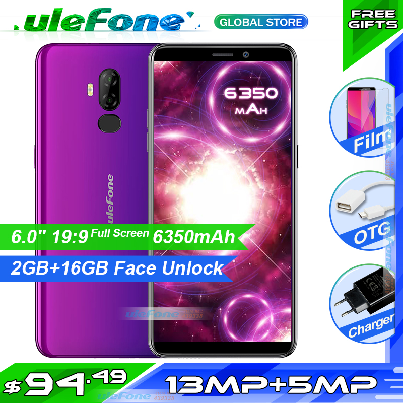Ulefone puissance 3L 6.0 pouces 18:9 HD + Smartphone 6350mAh MT6739 Ouad Core 2GB 16GB Face ID Android 8.1 téléphone portable