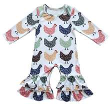 Little Girls Boutique Clothes Cute  Chicken Printed Baby Girls Bodysuit  Autumn Winter Baby Girls Long Sleeve Pajama Suit