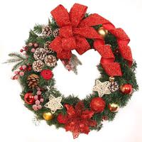 35cm Christmas Large Wreath Door Wall Ornament Garland Decoration Red Bowknot 5O1024