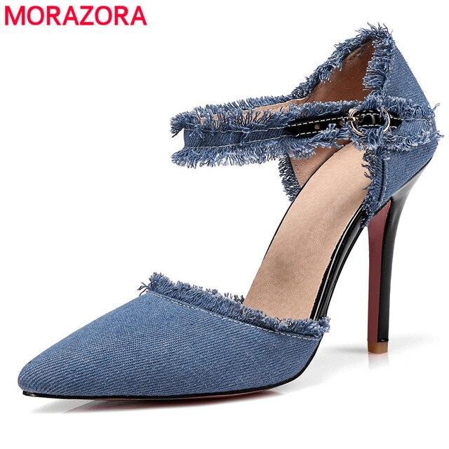 b22c001745 Tamanho 34-45 MORAZORA 2018 nova moda sapato de bico fino mulheres bombas  denim verão