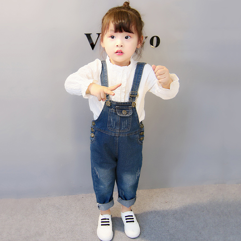 ea2dca80f52 Girls Boys Overalls Toddler Loose Solid Button Denim Jumpsuits Baby Girls  Cotton Bib Overalls Kids Jumpsuit Boys Jeans Bib Pants-in Overalls from  Mother ...