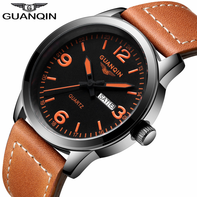 NEW GUANQIN Mens Business Watches Top Brand Luxury Waterproof Week Date Top Brand Luxury Leather Strap Quartz Watch Montre Homme new luxury brand 100
