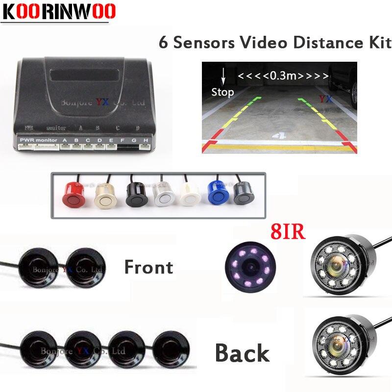 Koorinwoo Car parking Sensor 6 Video Reverse Radars Rearview camera Front Parktronic System Jalousie for Car Vehicle Black White