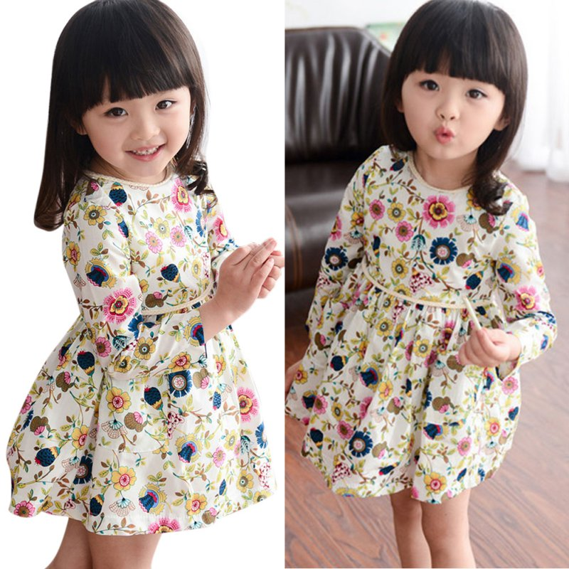 2-6Y Sweet Kids Girls Floral Pattern Dress Round Neck Long Sleeve Dresses sweet long sleeve round neck ruffled floral spliced dress for girls