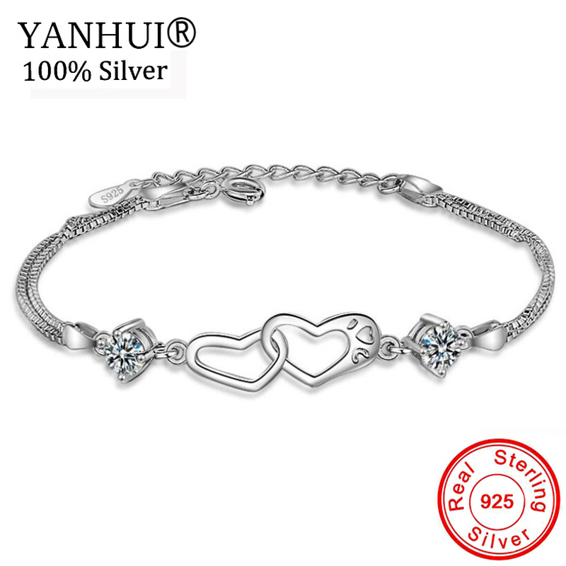 YANHUI Vente Chaude 925 Solide Argent Coeur à Coeur Bracelet pour Femmes 2 pcs CZ Zircon Charme Bracelet Mariée De Mariage bijoux HSL010