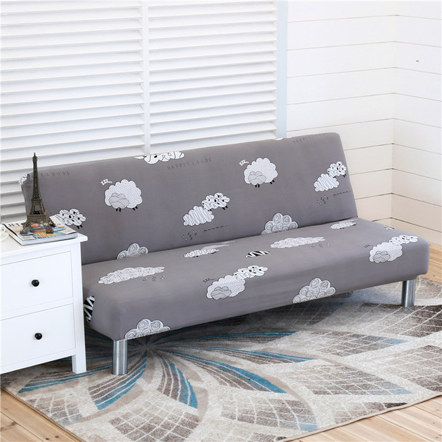 Armless Sofa Bed Cover Folding seat slipcover Modern stretch covers ...