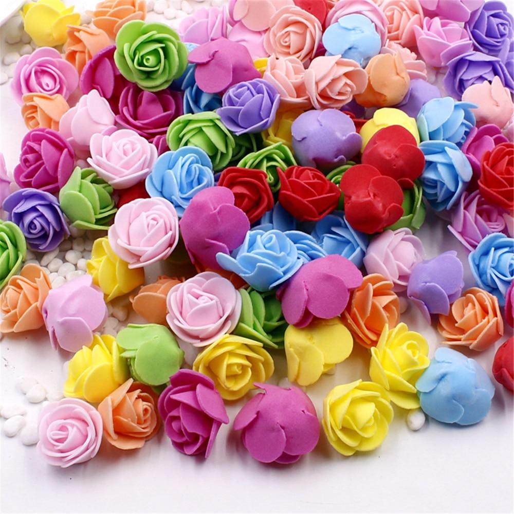 cheap 30pcs Mini PE Foam Rose Artificial Flowers For Wedding Car Decoration DIY Wreath Decorative Valentine's day Fake Flowers