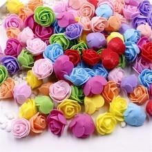 cheap 30pcs Mini PE Foam Rose Artificial Flowers For Wedding Car Decoration DIY Wreath Decorative Valentines day Fake