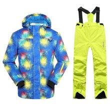 Phibee Boys Ski Suit Kids Ski Jacket and Pants  Windproof Waterproof -30 Degree Free Shipping цена 2017