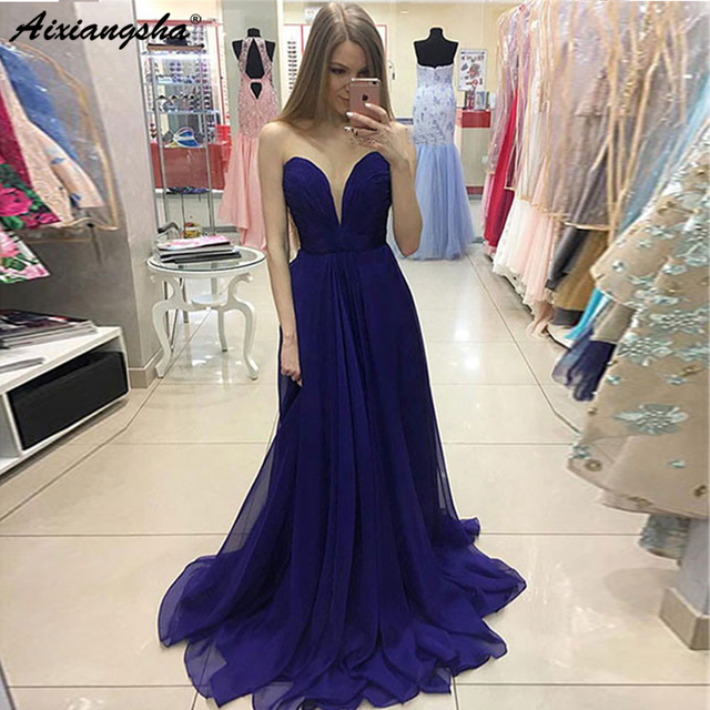 En Venta Vestido De Noche Azul Real 2019 Chifón Largo Hasta