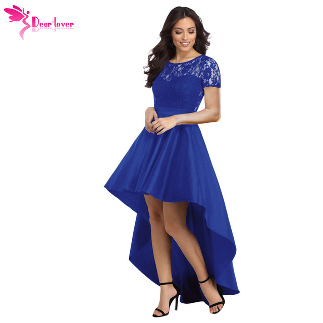 ba87c70f46f Dear Lover Party Gowns Royal Blue Lace Bodice Elegant Short Sleeve Hi-low  Dress Robe De Soiree Vestidos de Festa Longo LC610028