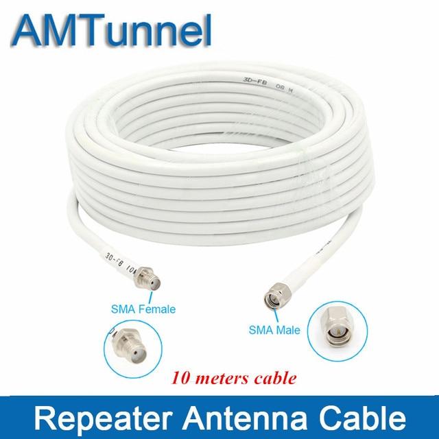 Macho coaxial do cabo sma de 10m ao fio fêmea 50ohm de sma para antenas internas e antena exterior