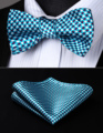 BC608QS Aqua Purple White Check Bowtie Men Silk Self Bow Tie handkerchief set Party  Pocket Square Classic Wedding