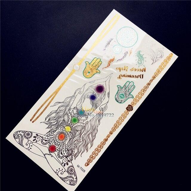 1PC Indian Gold Metallic Hamsa Hand Tattoo Dreamcatcher Henna Flower Tempoary Tattoo Stickers Waterproof Tatoo Yoga Women Mehndi