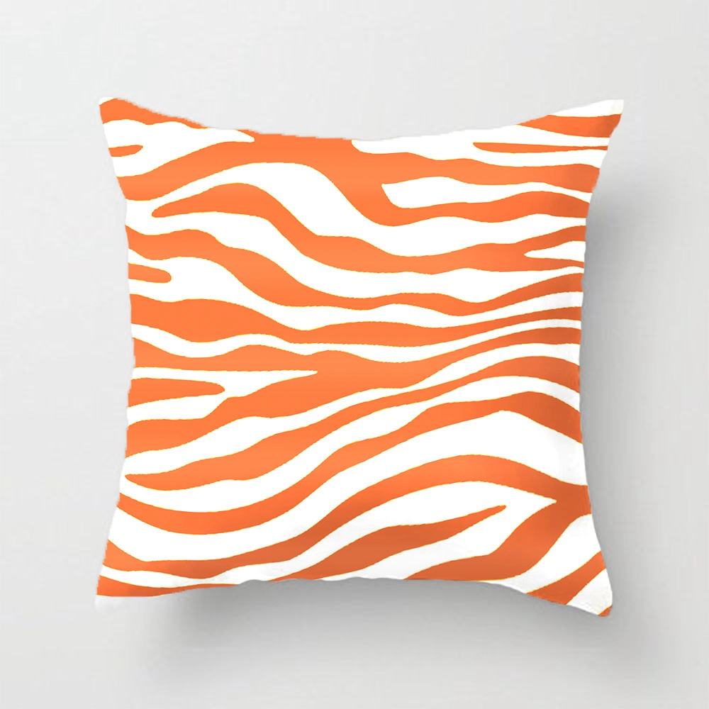 Amber Orange Zebra Animal Print Throw Pillow Case Decorative Cushion Cover Pillowcase Customize ...