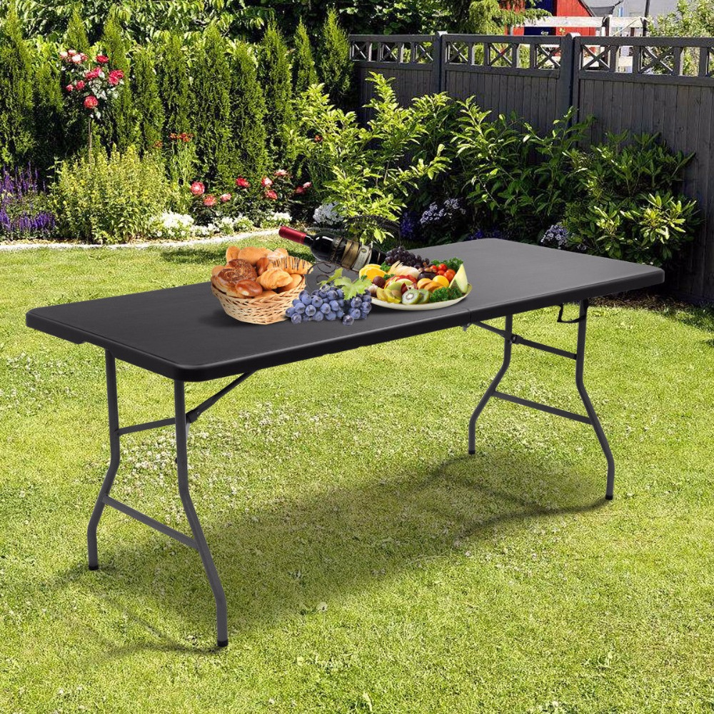 giantex 6 39 folding table portable plastic picnic party dining camp tables indoor outdoor modern. Black Bedroom Furniture Sets. Home Design Ideas