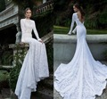 2017 New Design Lace Mermaid Wedding Dresses Full Sleeve High Collar Royal/Cathedral Train Simple White Ivory Bridal Gowns LW