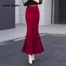 1pcs Hight waist skirts Womens Plus size Fishtail 2019 Autumn New Rome fabric skirt Ladies Skinny mermaid girls