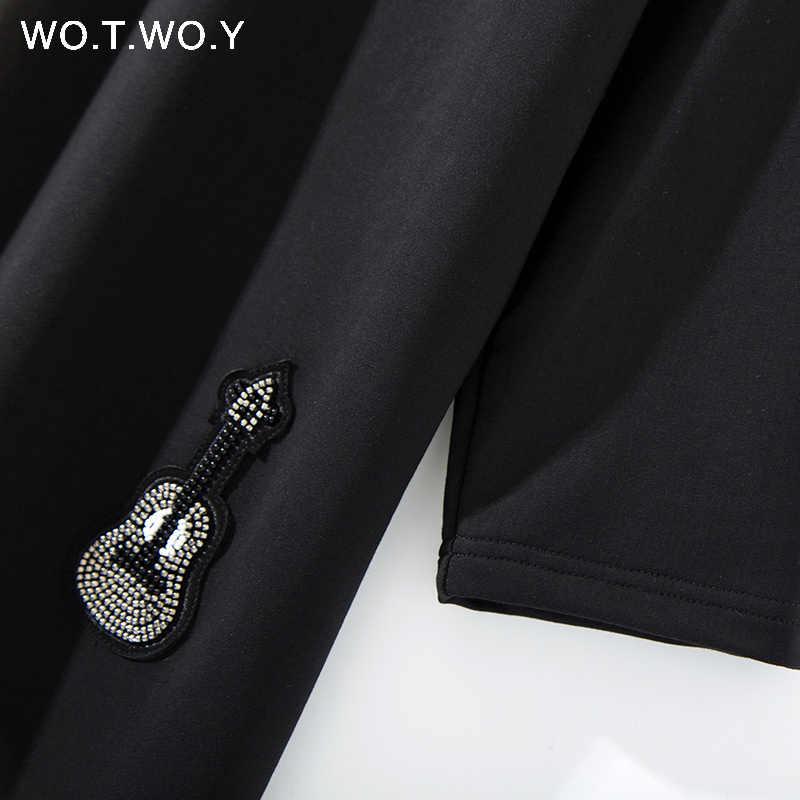 Женские повседневные платья WOTWOY ручной работы с аппликацией значка, 2018, с бисером, из хлопка, длинное платье-рубашка, женское черное Свободное платье, летнее платье