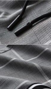 Image 5 - Minglu Pantalones a cuadros para hombre, pantalón a cuadros, de lujo, con cintura elástica, ajustado, hasta el tobillo, de talla grande, 4xl, de hilo teñido, informales