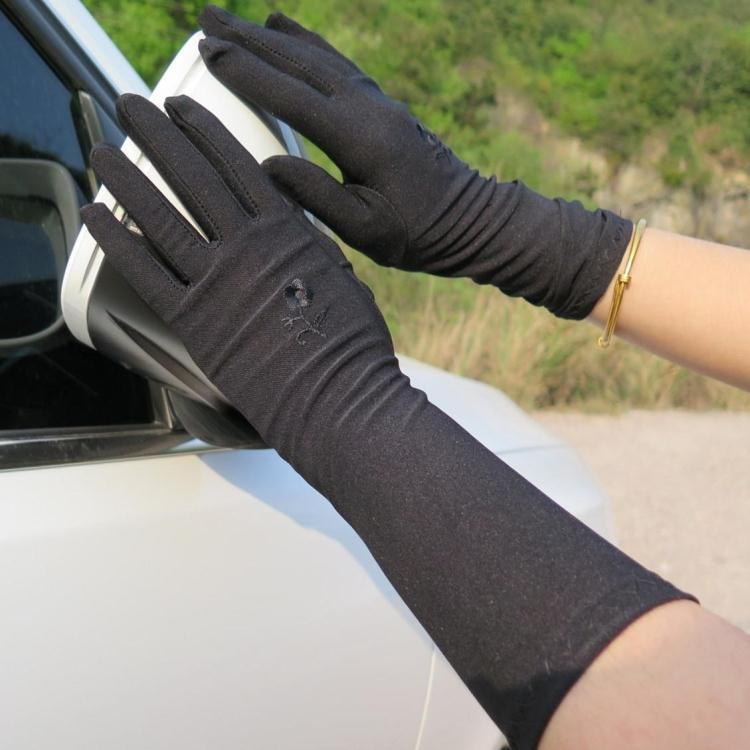 Spring Autumn Women's Summer Sunscreen Embroidered Gloves Female Medium-long Thin Elastic Etiquette Gloves Driving Gloves R793