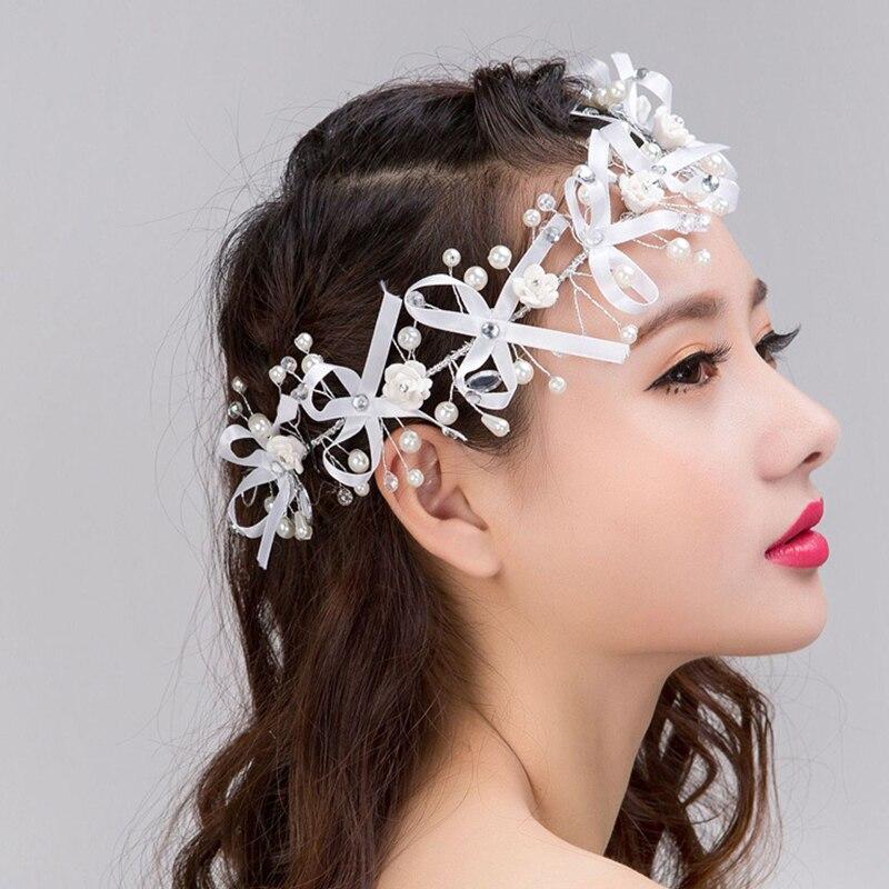 Gorgeous font b hair b font comb floral headband women pearl font b jewelry b font