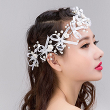 Gorgeous hair comb floral headband women pearl jewelry hairband soft chain hair ornaments bridal tiara wedding