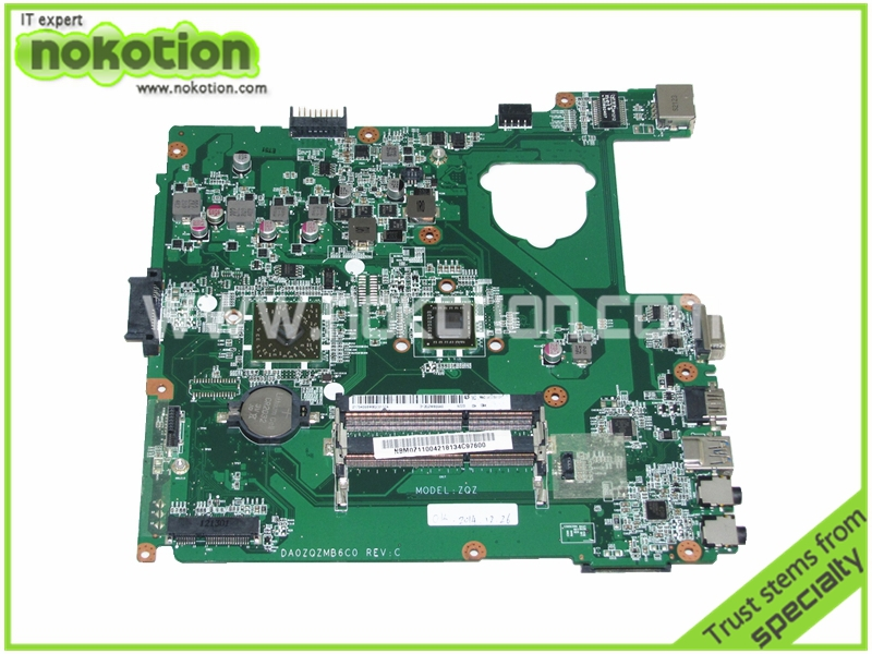 NOKOTION   Laptop mothebroard For acer aspire E1-421 ZQZ DDR3 onboard Mainboard NBM0Z11004 DA0ZQZMB6C0 nokotion mbsft02001 p1ve6 la 7071p laptop motherboard for acer aspire one 722 ddr3 mainboard cup onboard
