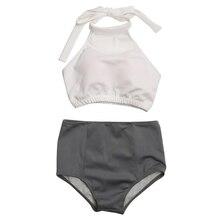 цена на Women Swimwear Backless Bikini Set Two Pieces Halter Push-Up Padded Swimsuit High Waist Beachwear