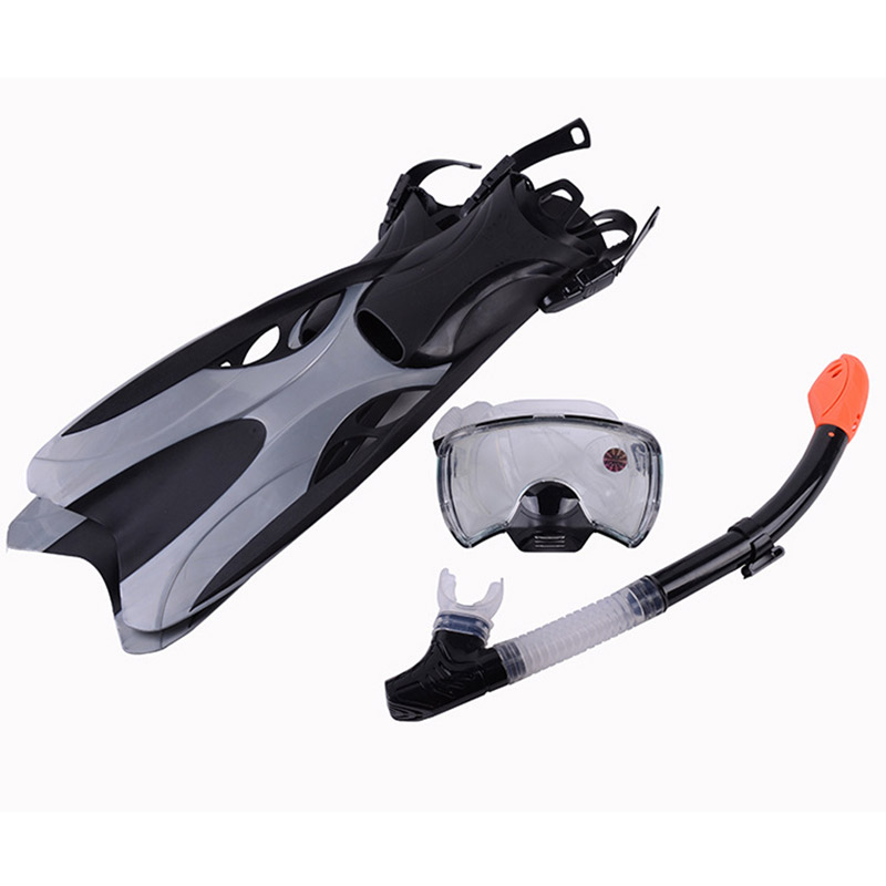 3 PCS of Set High Quality PVC Full Face Diving Mask Goggles+ Full Dry Anti-Fog Silicone Tube +Swimming Fins Tail Equipment brand professional swiming diving mask set silicone diving mask dry vent pipe breathing tube diving fins frogs
