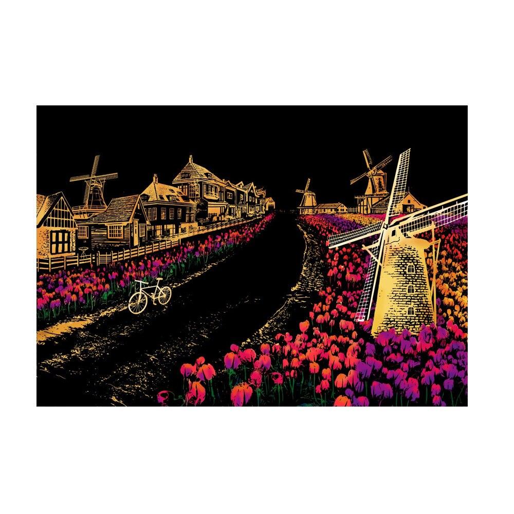 Интересный красочный ночной скретч картина Рисование бумага описать город ночная сцена подарок детям - Цвет: Holland Windmill