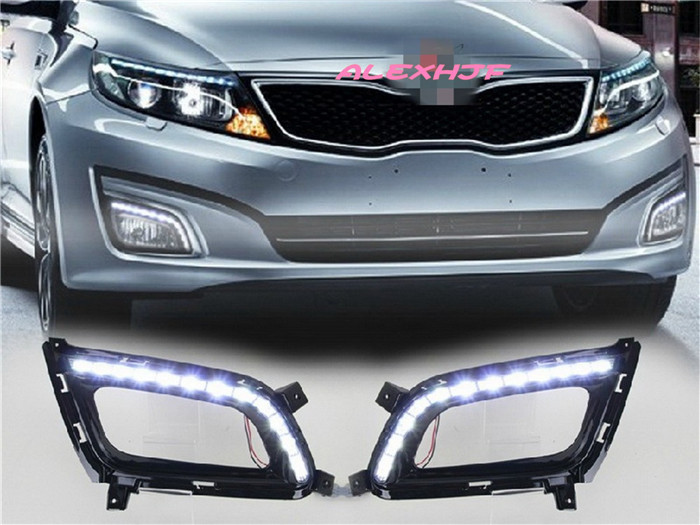July King LED Daytime Running Lights DRL LED Fog Lamp case for KIA Optima K5 2014+, LED Front Bumper Fog Lamps Lights , Full Set led front fog lights for honda cr v pilot 2012 2013 2014 car styling round bumper drl daytime running driving fog lamps