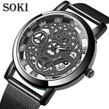 Simple Golden Silver Luxury Hollow Steel Watches Men Retro Hombre Quartz Wrist watch fashion casual Men Women Unisex Relojes цена
