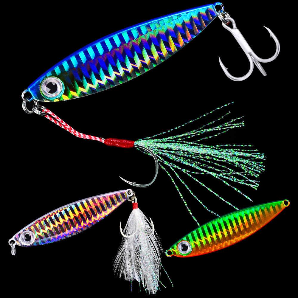 6Pcs Metal Fishing Lure Jigging Lead Fish Jig 10-50G Hard Baits Jig Treble Hook