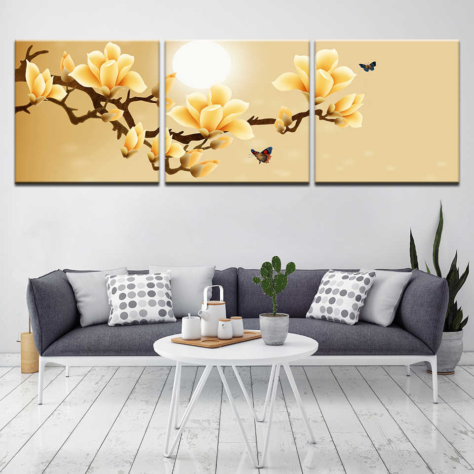 Wall Art Home Decor Framework Canvas Pictures 3 Pieces Abstract Yellow Flowers Paintings For Living Room HD Prints Posters