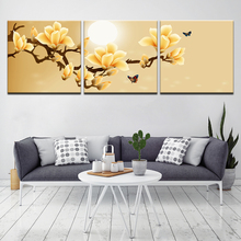 цена на Wall Art Home Decor Framework Canvas Pictures 3 Pieces Abstract Yellow Flowers Paintings For Living Room HD Prints Posters