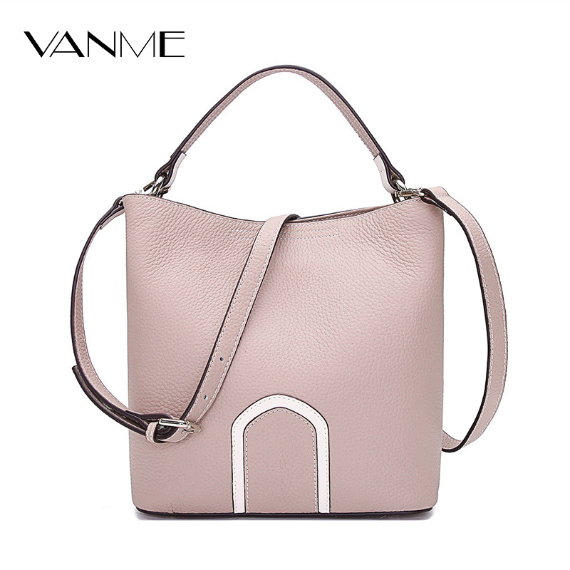 Women Leather Handbags Pink Khaki Bucket Shoulder Bags Ladies Genuine Leather Cross Body Bag Large Capacity Ladies Shopping Bag casual women leather handbags bucket shoulder bags ladies cross body bags large capacity ladies shopping bag bolsa 6 colors