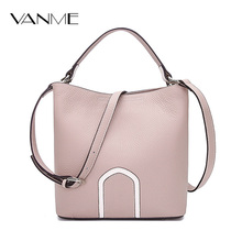 Women Leather Handbags Pink Khaki Bucket Shoulder Bags Ladies Genuine Leather Cross Body Bag Large Capacity Ladies Shopping Bag