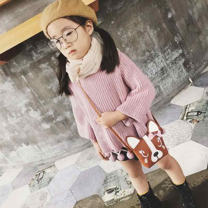 2019 新女性の韓国のガールミニショルダーバッグレディース Pu レザーハンドバッグかわいい犬ちょう結び子供カジュアルメッセンジャーバッグ bolsas