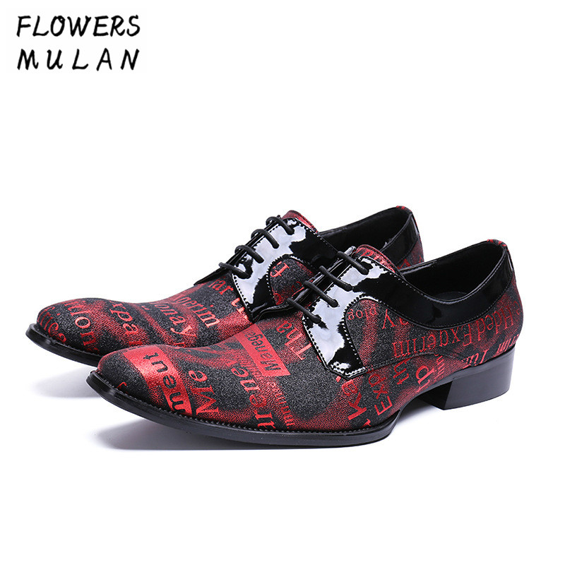 Business Shoes Men Pointed Toe Red Printing Letter Leather Upper Male Footwear Lace Up Height Increasing Man Party Wedding Shoes цена и фото