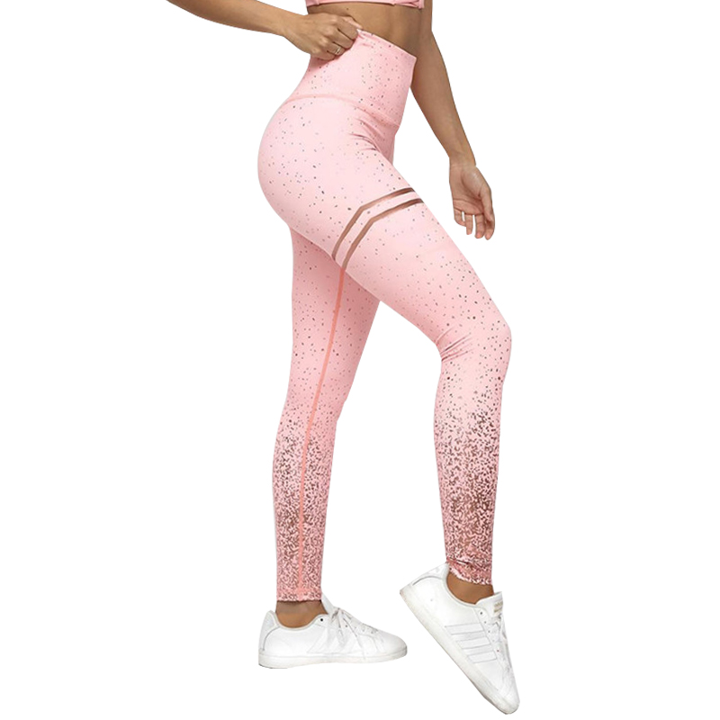 High Waist Fitness Leggings Women Workout Gold Print Leggings Female Activewear Leggins Sportswear Jeggings
