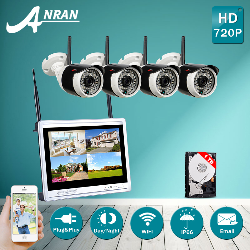 New! Plug And Play 4CH 12''LCD Screen Wireless NVR Security System&720P Fulled-HD WIFI IP Camera Home IR Surveilance Kit 1TB HDD