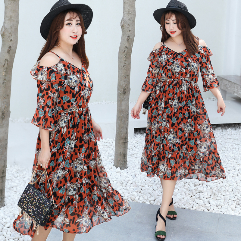US $27.77 |Bohemian Style Chiffon Loose Print Short Flare Sleeve V Neck  Plus Size XL 4XL Women Dresses 2019 Summer New Top Selling Lady-in Dresses  ...