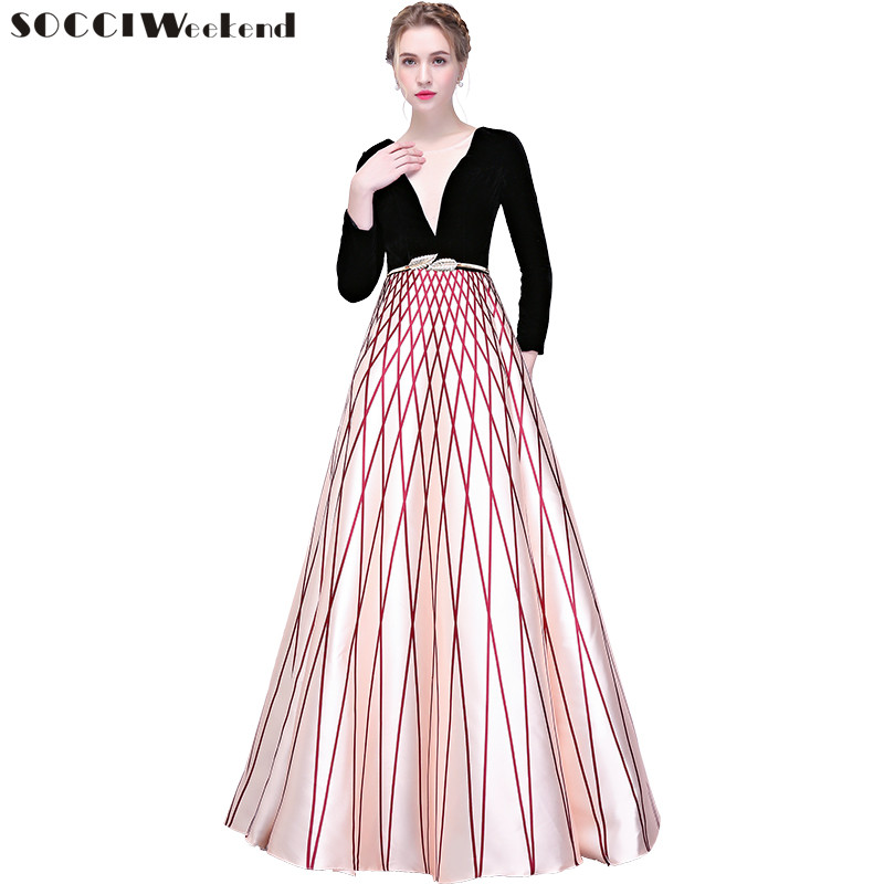 Socci Weekend Stripe Sequined Evening Dresses Long Gowns Half Sleeves New Zipper Back Formal Prom Party Dress Robe De Reception Weddings & Events