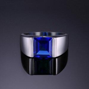 Image 2 - Jewpalace 3.3ct Gemaakt Sapphire Ring 925 Sterling Zilveren Ringen Voor Mannen Trouwringen Zilver 925 Edelstenen Sieraden Fijne Sieraden