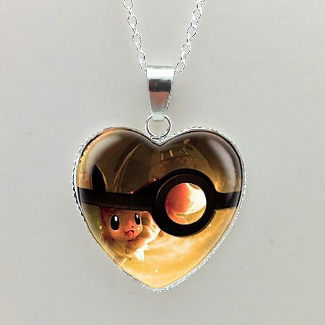 New Pokemon Eevee Heart Shaped Necklace